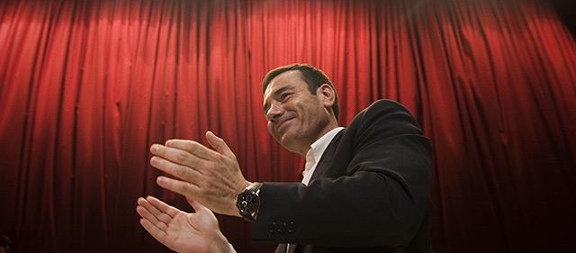Tomás Gómez, en el cierre de su campaña en la Facultad de Medicina. | El Mundo