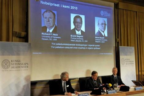 El jurado, durante el anuncio de los ganadores del Premio Nobel de Química 2010. | Efe.