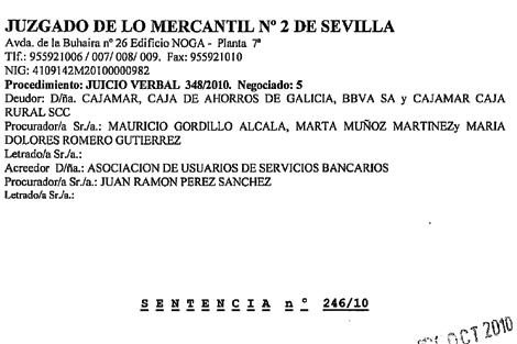 Extracto de la sentencia del Juzgado nº 2 de Sevilla. [Léala íntegra aquí] . | ELMUNDO.es