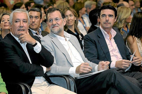Arenas, Rajoy y Soria, este fin de semana en un acto del PP en Canarias. | Efe