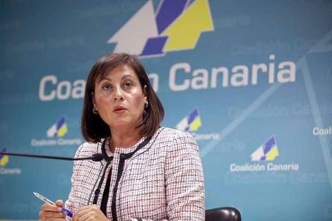 La presidenta de CC, Claudina Morales, tras la reunión del Comité Permanente de su partido. | Efe