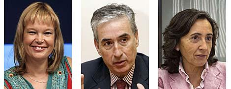 Leire Pajín (Sanidad), Ramón Jáuregui (Presidencia) y Rosa Aguilar (Medio Ambiente). | Efe