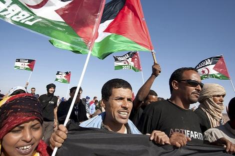 Manifestación ante la sede de la Misión de Naciones Unidas para el Referéndum en el Sahara Occidental.   Efe