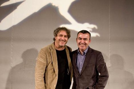 Manuel Rivas y Lorenzo Silva antes de su conversación sobre Getafe Negro | Foto: Joel Aguilar
