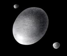 Dibujo de Haumea y sus dos satélites | A. Feild (STScI)