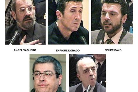 Los cinco acusados: Vaquero, Dorado, Bayo, Elgorriaga y Rodríguez Galindo.   Efe