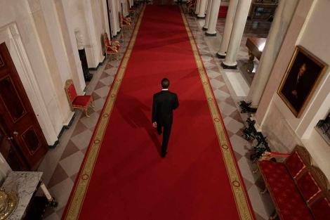Barack Obama abandona la Sala Este de la Casa Blanca. | Efe