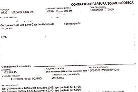 Extracto de un contrato de Cobertura de Tipos en una hipoteca.   ELMUNDO.es