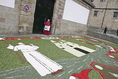 La alfombra de Ponteareas elaborada para la visita del Papa. | Efe