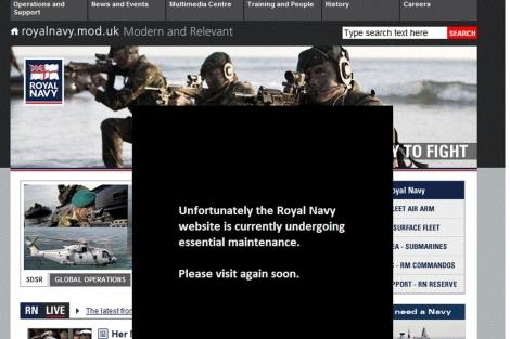 Mensaje en la web de la Marina.