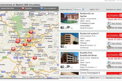 Portal inmobiliario del Santander, con algunas de sus propiedades en Madrid. | ELMUNDO.es