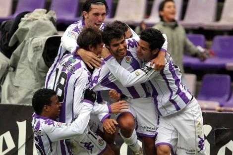 Celebración del tercer gol del equipo pucelano. | Montse Álvarez