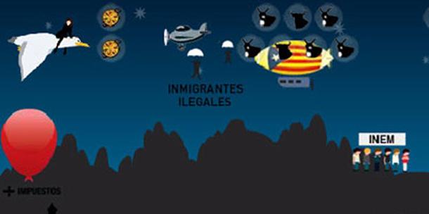 Escena del juego en la que la heroína 'dispara' a inmigrantes.