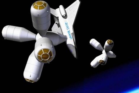 Recreación del primer hotel espacial de la firma española Galactic Suite. | Efe