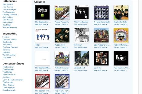 Pantalla de la discografía en iTunes.