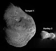 Núcleos de los dos cometas. | NASA