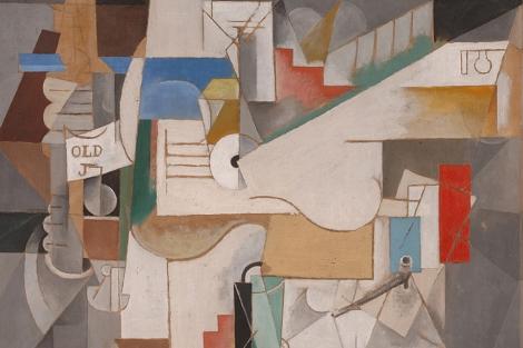 'Botella, guitarra y pipa', de 1912. | MoMA