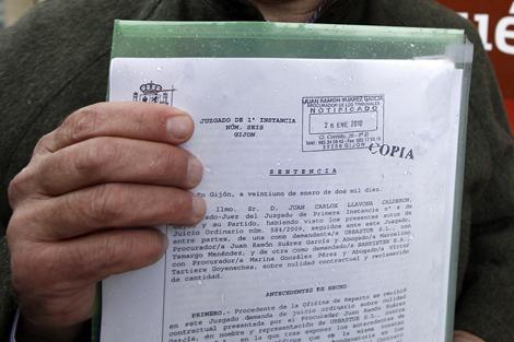 Setencia contra el 'swap' emitida en marzo a favor de un empresario de Gijón. | Jorge Peteiro