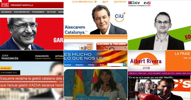 Páginas web de los pricnipales candidatos en Cataluña.