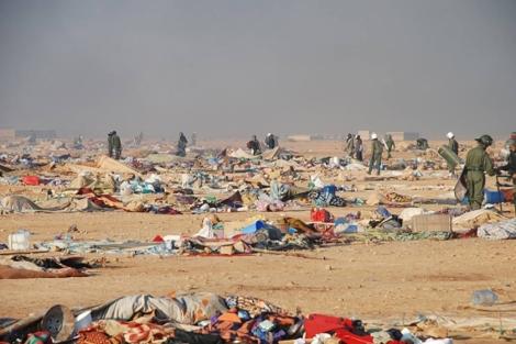 Imagen del campamento de protesta desmantelado.   MAP