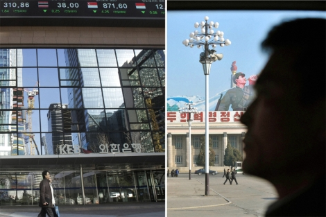 Una pareja ante a un banco en Seúl. | La plaza Kim Il-sung, primer monarca. Reuters/ AP