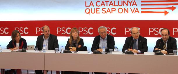La ejecutiva del PSC tras el debacle electoral.   Domènec Umbert