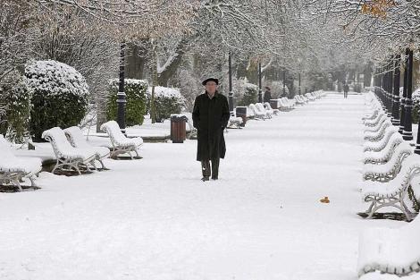 Un hombre camina por el parque de la Alameda de Soria cubierto por la nieve. | Foto: Efe