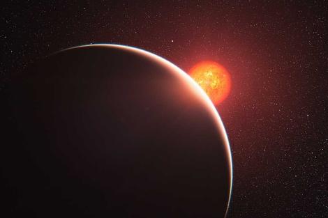 Recreación artística del exoplaneta GJ 1214b y de su estrella anfitriona. | ESO
