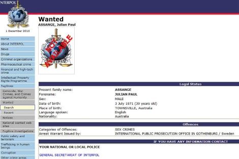 La orden emitida por Interpol.
