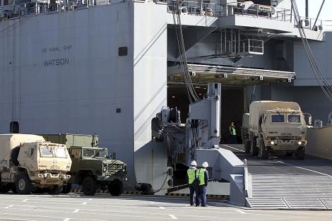 Maniobras para el abastecimiento de las tropas de EEUU en Corea del Sur. | Efe