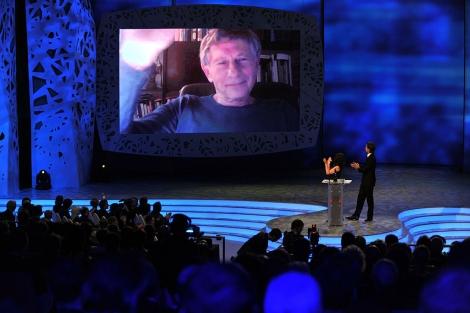 Polanski agradece por videoconferencia el premio a mejor director. | AFP