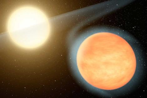 Recreación de WASP-12b (i) y de su estrella anfitriona. | NASA/JPL-Caltech/R. Hurt (SSC).