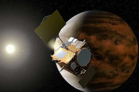Recreación artística de la sonda 'Akatsuki' cerca de Venus. | AFP