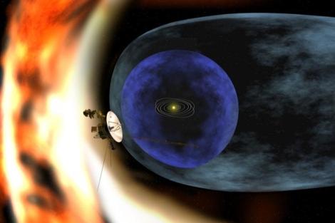 Recreación de la estructura del Sistema solar, con la nave 'Voyager 1'.| NASA