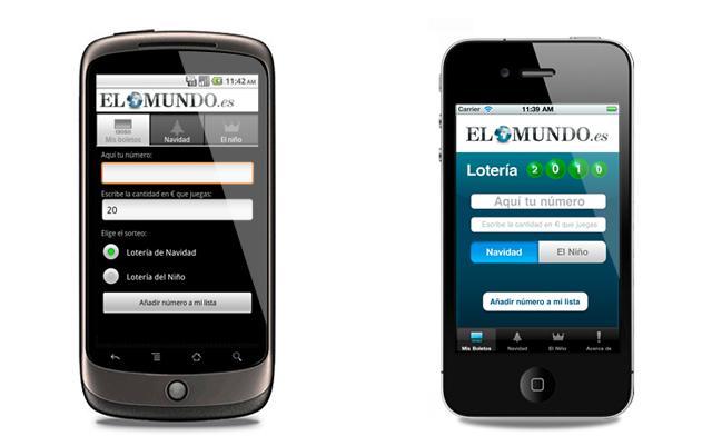 Las aplicaciones de Android (izqda.) y iPhone (dcha.).