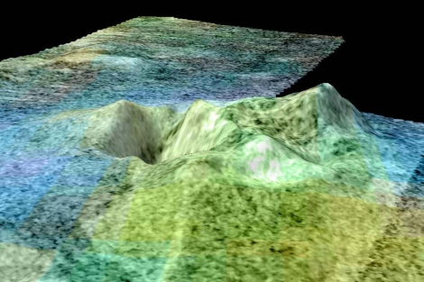 Imagen del volcán Titán basada en datos de la nave Cassini. | NASA