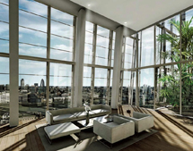Recreación del interior de una de sus futuros apartamentos de lujo.