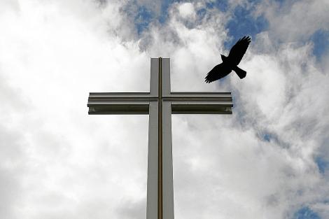 Un pájaro vuela cerca de la cruz papal del Parque Phoenix, a kilómetros de Dublín. | Reuters
