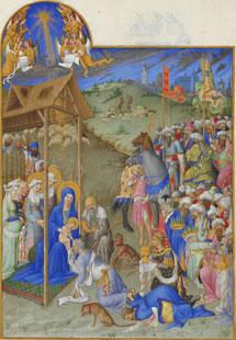 La Adoración en Las horas del duque de Berry (folio 52r)