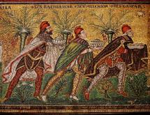 Los Reyes siguiendo la Estrella. Mosaico en San Apolonio, Ravena