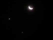 Conjunción de Venus y Júpiter con la Luna, 1/12/2008 | C. Pires y A. de Souza