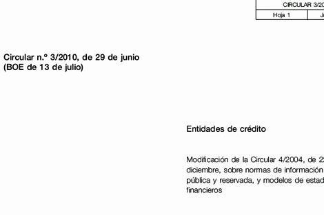Primera página de la Circular del Banco de España enviada a las entidades financieras.