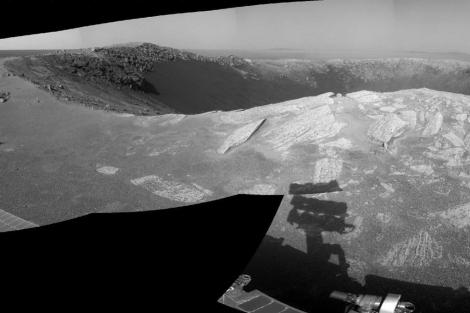 El cráter 'Santa María' de 90 metros de diámetro. | NASA