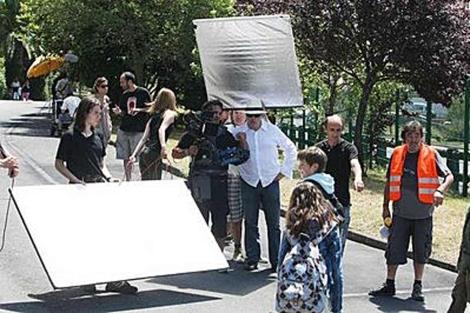 Imagen de un día de rodaje de la película 'Zigortzaileak'.