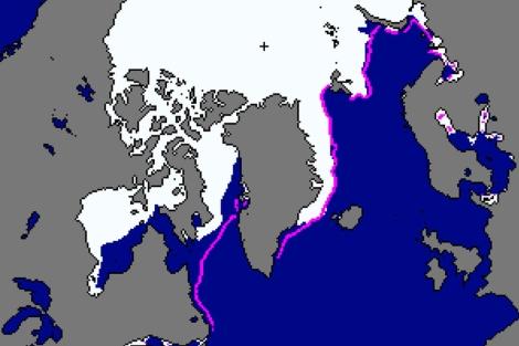 Estado del hielo en diciembre de 2010 respecto a la media, marcada en rosa. | NSIDC