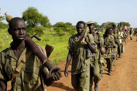Tropas del Ejército de liberación de Sudán (SPLA) en Abyei.| Afp