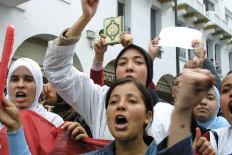 Mujeres marroquíes en una protesta.| STR/AFP