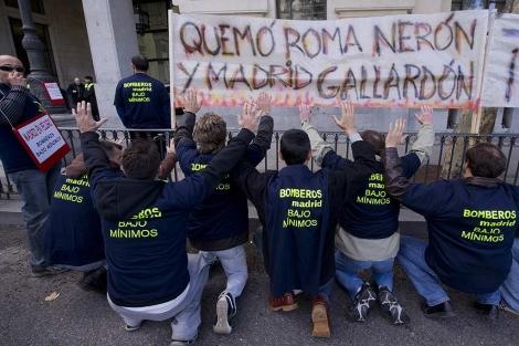 Imagen de una protesta reciente de los bomberos. (EM)