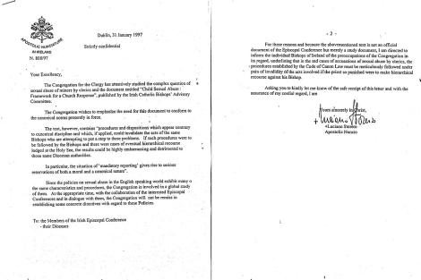 Una copia de la carta, enviada en 1997. | AP/RTE