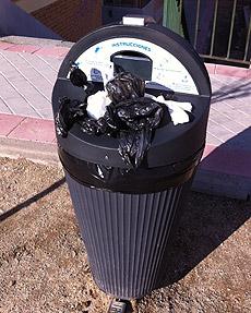 Imagen de un sanecane sin bolsas en el barrio del Pilar. (P.M.)